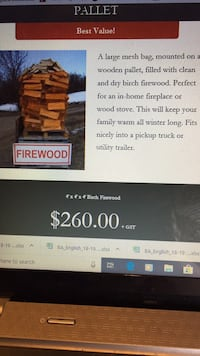 Birch firewood dry and seasoned 4'x4'x4' bag fits in pickup truck is $273.  Visa, MasterCard, debit, etransfer or cash Sherwood Park, T8A 4T3