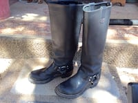 Pair of black leather high knee boots Payson, 85541