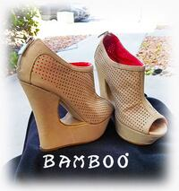 Bamboo Wedge Bootie with Cutout Heel Size 8 Las Vegas