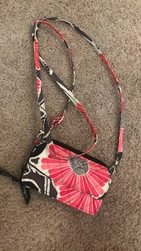 black and pink floral crossbody bag