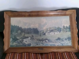 """Lithograph of """"Mountains in Austria"""" by H Sengther"""