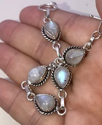 Natural bright rainbow moonstones & .925 stamped sterling silver bracelet. NEW!  Carrollton, 75007