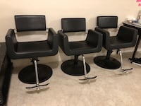 Four black leather padded rolling chairs Gaithersburg, 20878