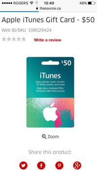 iTunes $50 gift cards