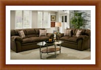 Chocolate fabric sofa and love seat free delivery Alexandria, 22305