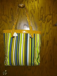 orange and white striped leather tote bag New Hope