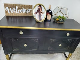 Refinished sideboard, buffet, cardenza painted black & gold.