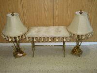 2 matching lamps & bench Burlington