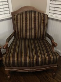 brown and white striped padded armchair San Clemente, 92672