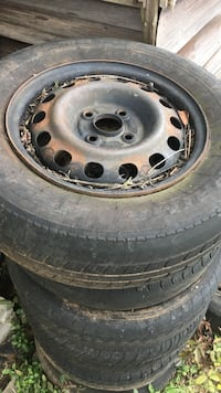 14 in rims 4 x 100 . $5 a piece. Some treads good some isn't. Im going thru it. So you want a rim come pick one out Perry, 31047