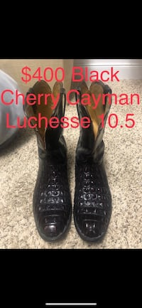 Pair of size 10.5 black lucchese cherry cayman leather deep scallop round toe mid-calf cowboy boots Pearland, 77089