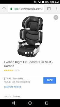 black Evenflo right fit booster car seat screenshot