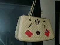 white and red leather tote bag Calgary, T3C 2P7