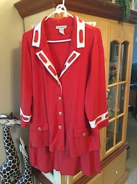 red and white button-up long sleeve tops Powell, 37849