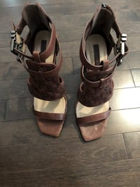 pair of brown leather open toe ankle strap heels Laval, H7T 1C8