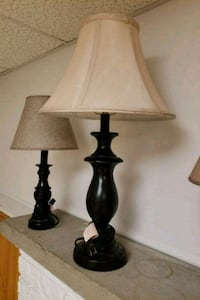 two black wooden base table lamps with white lampshades 371 mi