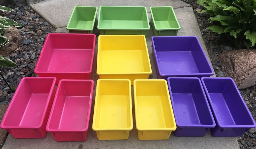 12 Stackable Multi-color Plastic Bins for $5 3f8df734-49ce-4327-8684-149677de9e81