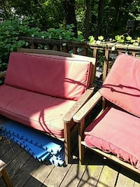 3 piece wood  furniture with cushions $50.00