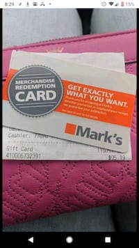 Mark's work Wearhouse gift card.  North Vancouver, V7M 3K2