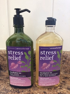 two Stress Relief body lotion and body wash