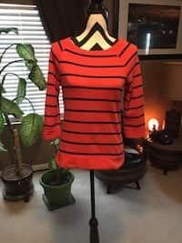 dda3769ea7ce0f women's red and black striped scoop-neck long-sleeved top