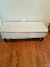 Off-white Velveteen storage bench