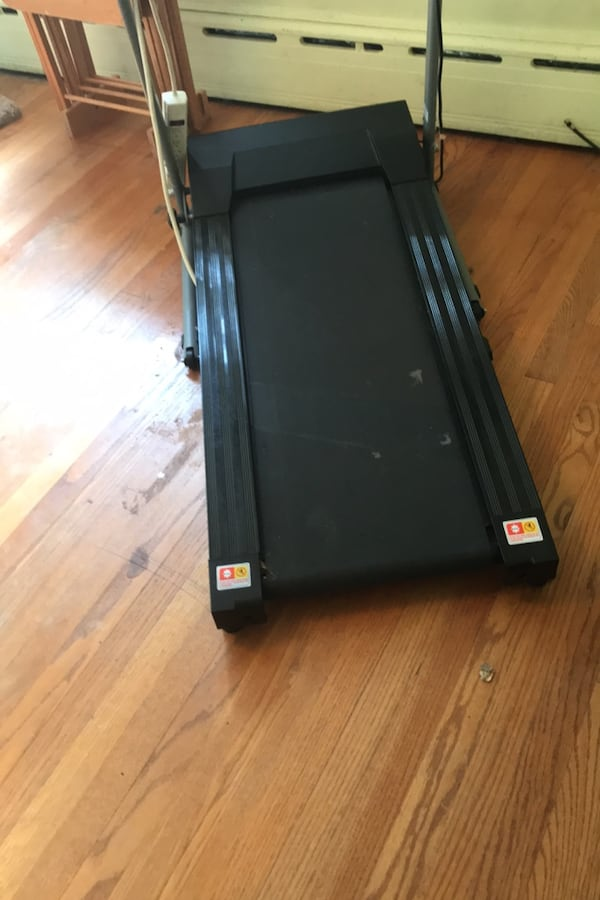 Treadmill folds up compact.  2