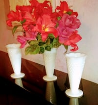 "Choose from 3 identical white 9.5 "" tall Vases."