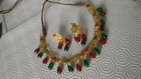 Gold plated necklace earring set