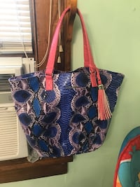 Blue and pink floral tote bag Asheville, 28806