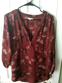 red and brown floral long-sleeved shirt Coopersville, 49404