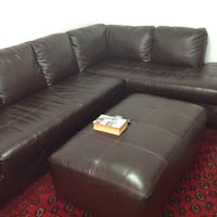 Brown leather sectional sofa with ottoman Montréal, H4V 2T1