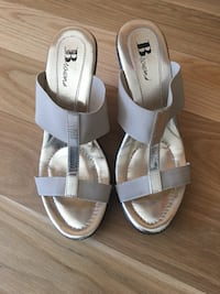 Pair of beige and gold open-toe sandals by Browns size 7