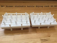 two white Dr,Browns bottle drying rack with text overlay Massapequa, 11758