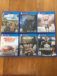 Six ps4 games (Prices in description) New Westminster, V3M 4C8