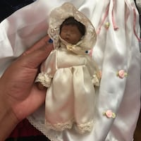 white and brown dressed porcelain doll Rockville, 20853