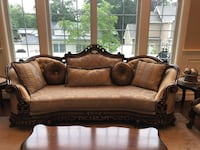 brown wooden framed brown padded couch Paramus, 07652