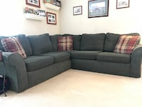 "Forest green fabric sectional sofa with throw pillows 96""X96"" excellent condition  Lincoln Park, 07035"