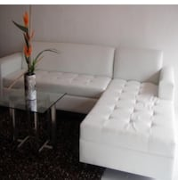Custom White Leather Sofa New