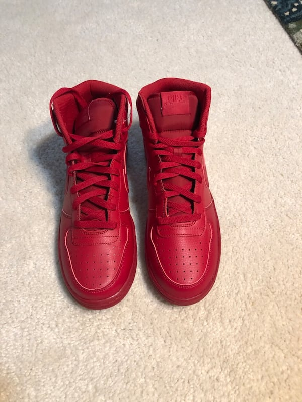 Men's Nike Big High Basketball Shoes Red Leather (Retail $100) 96580059-7a88-440e-8835-36713e0018c9
