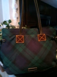 green and black leather tote bag Overland Park