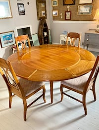 MIDCENTURY solid wood round table and 4 chairs set Derwood