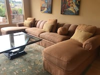brown micro-suede sectional couch