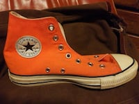 orange and white Converse All Star high-top sneake