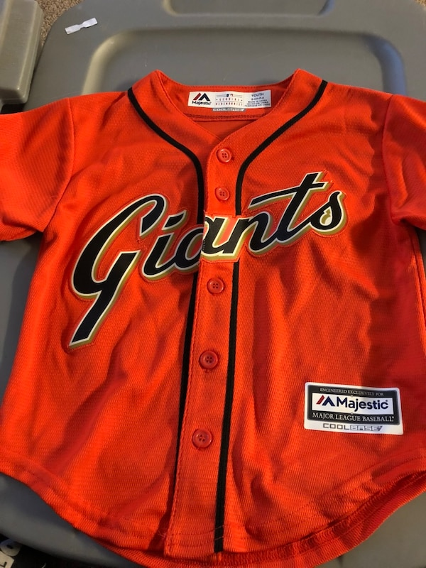 cheap for discount 9b42b c078c Orange and black giants button-up baseball jersey
