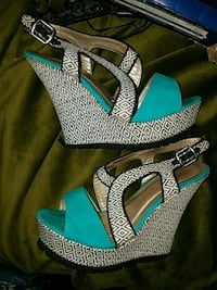 pair of green open toe ankle strap heels Macon, 31204