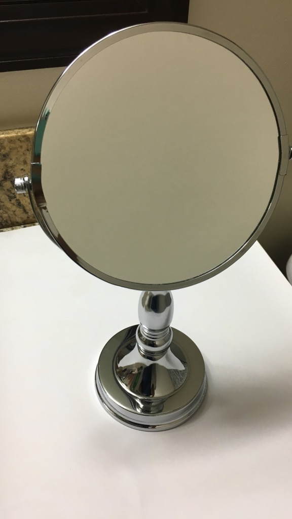 silver frame magnifying mirror