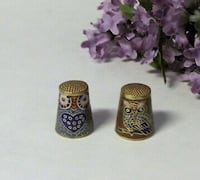Lot of two vintage sewing thimbles owl bird enamel Mississauga, L4X 1S2