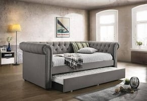 Chesterfield style upholstered daybed with trundle w/o mattress