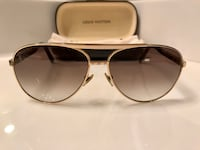 Louis Vuitton Authentic Men's Gold Aviator Glasses with Case and Dust cleaner
